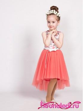 63ce5bf0003 Детское коралловое с принтом короткое платье со шлейфом Тори