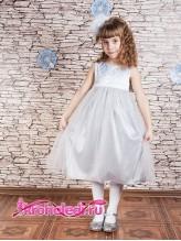Нарядное детское платье Барокко серебро
