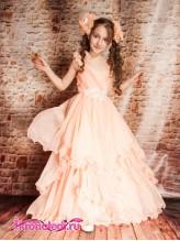 Нарядное детское платье Выпускница персик