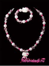 Детские бусы и браслет Hello Kitty розовые