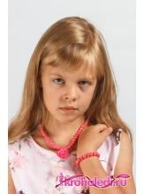 Детские бусы и браслет Стелла темно-розовые