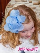 Школьный бант Айрис голубой