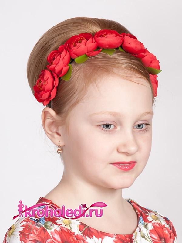Детский ободок Пионы красный