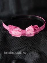 Детский ободок Ретро темно-розовый
