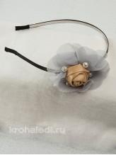 Детский ободок Роза на серебре