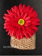 Повязка на волосы Хризантема красная