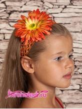 Повязка на волосы Хризантема оранжевая