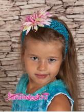 Повязка на волосы Хризантема розовая на голубом