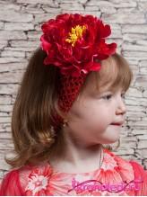Повязка на волосы Пион красный