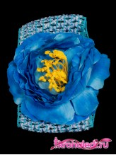 Повязка на волосы Пион синий