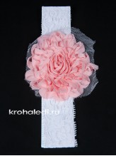 Повязка на волосы Роза коралловая
