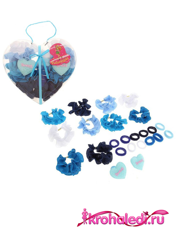 Набор резинок Сердце синее