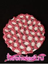 Сетка на пучок Стразы темно-розовая