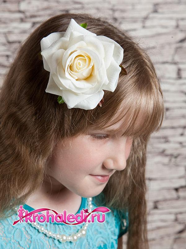 Зажим-брошь Роза белая