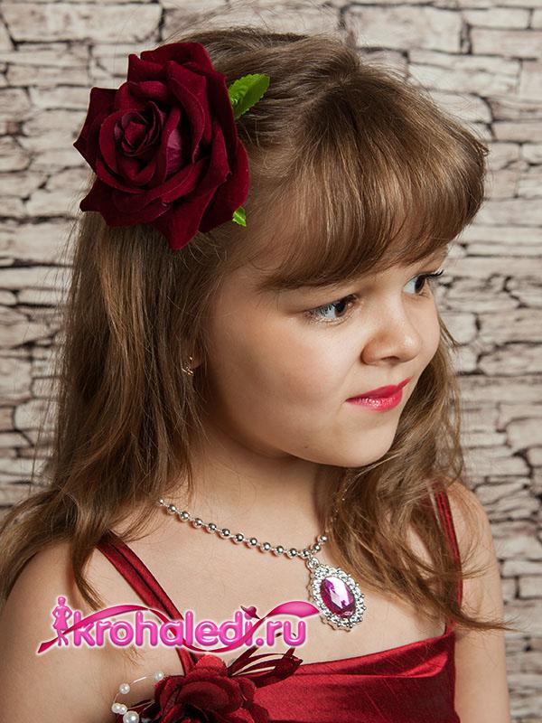 Зажим-брошь Роза бордо
