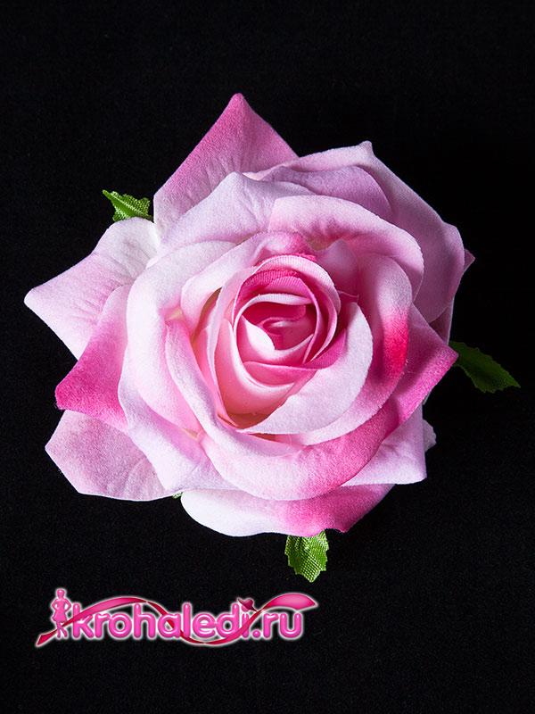 Зажим-брошь Роза розовая