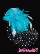 Зажим Шляпка с вуалью голубая
