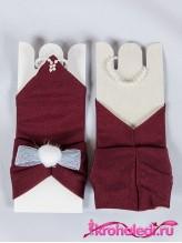 Детские перчатки Пуховка бордовые