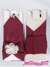 Детские перчатки Валентина бордовые