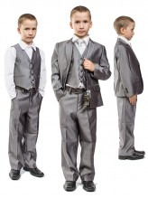 Серый костюм-тройка для младшей школы